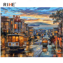 RIHE City Track Car Diy Painting By Numbers Abstract Dusk Bus Oil On Canvas Cuadros Decoracion Acrylic Wall Art Picture