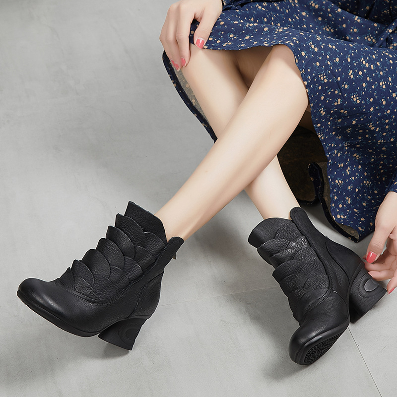 Women Genuine Leather Ankle Boots 6 CM High Heel Ruffles Fashion Black Leather Martin Boots For Women Retro Boot Handmade Winter бра cl418321 citilux