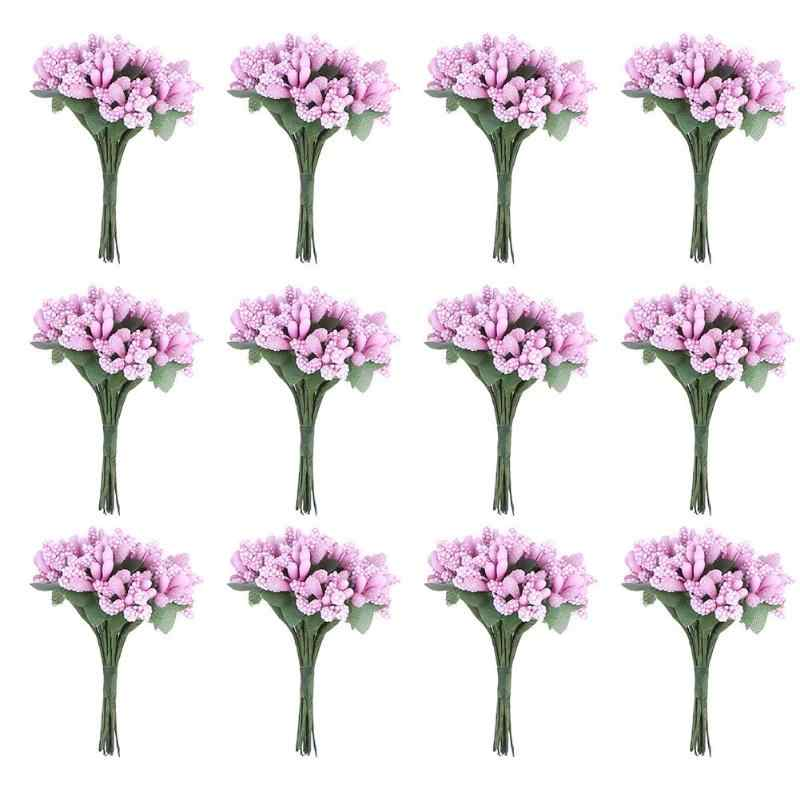 12 pièces fleurs artificielles séchées bourgeon étamine Berry allusion fleur pour décoration de mariage bricolage Scrapbooking cadeau boîte décorative