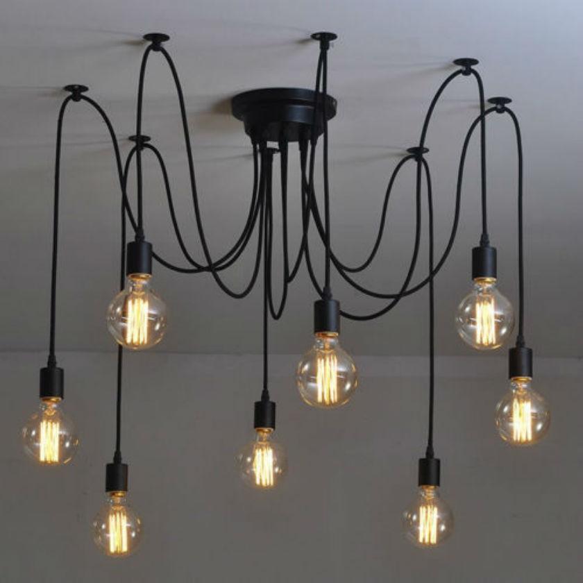 ФОТО LOFT modern black Lustre chandeliers 6-12 arms Retro Adjustable Edison Bulb DIY E27 Art Spider Lamp luminaire Fixture