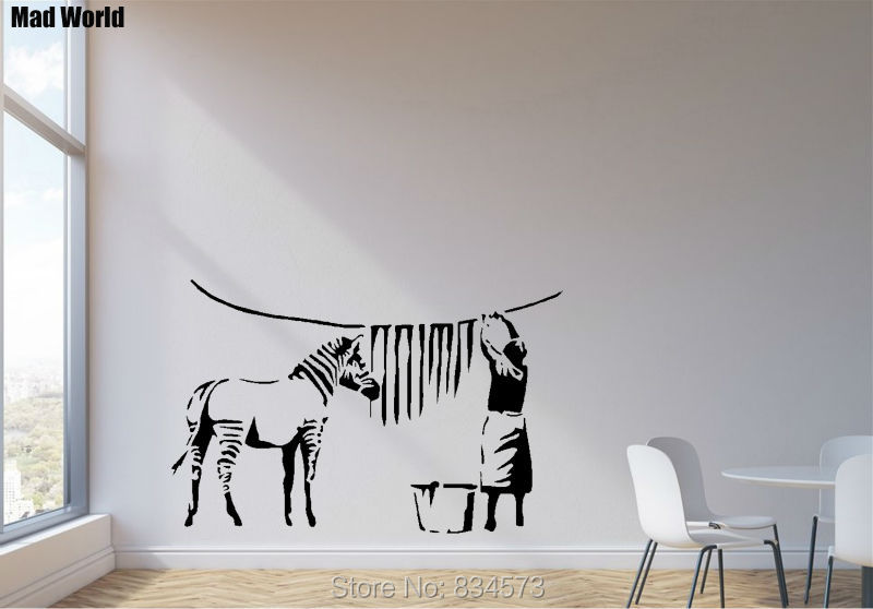 ... Mad World ZEBRA STRIPES LAUNDRY ROOM Wall Art Stickers Wall Decal Home  DIY Decoration Removable Part 66