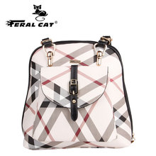 FERAL CAT Women  Leather Backpacks Female plecak Ladies For School Retro Sac a Dos Femme Shoulder Bags