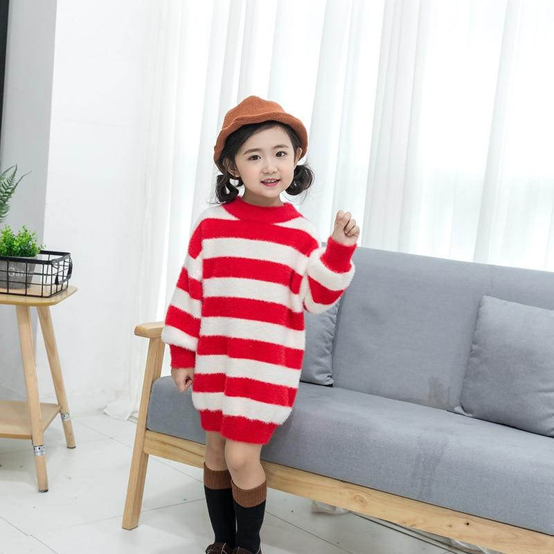 New Winter Girl's Autumn Fashion Turtleneck Woolen Striped Long Sweater Dress Children Kids Casual Pullover Zima Pijama Infantil