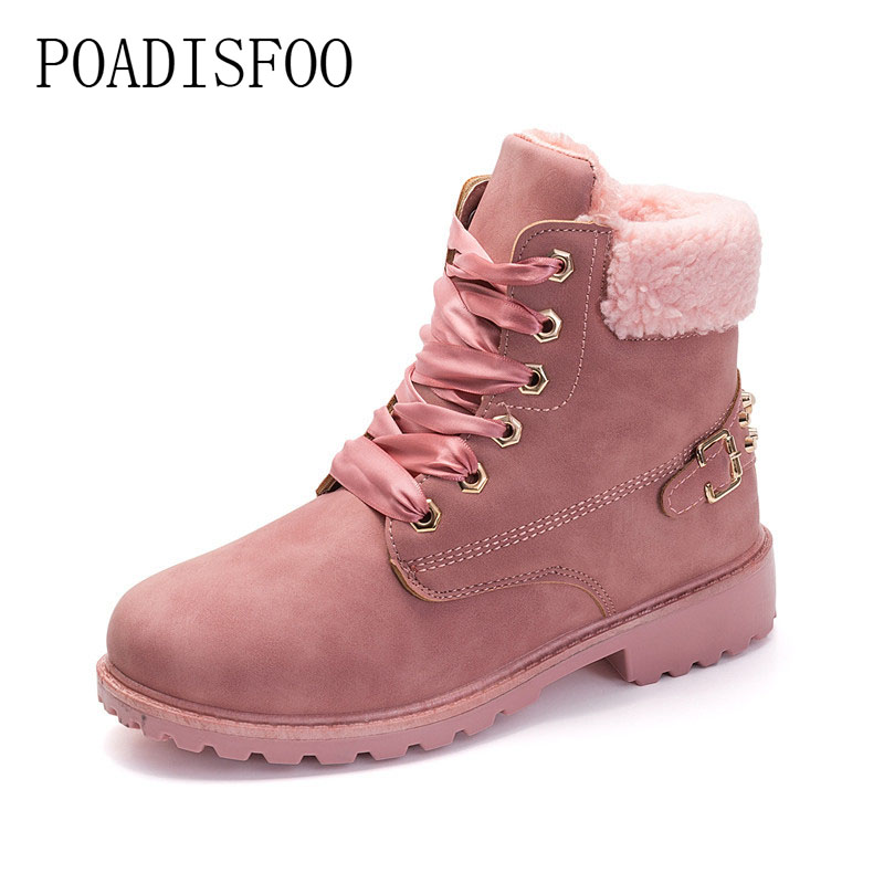 POADISFOO 2017 women's Boots Square heel Ankle Boots Lace-Up Round Toe Big size Martin boots rivet women shoes .JGG-781 2017 embellished sweety girl love pink peach women martin boots short shoe ankle lace up crystal sequins flat round toe shoe