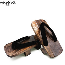WHOHOLL Japanese Geta Clogs Man Sandals Wooden Shoes Men Two-toothed Heel Platoform High Summer Cos Indoor Home