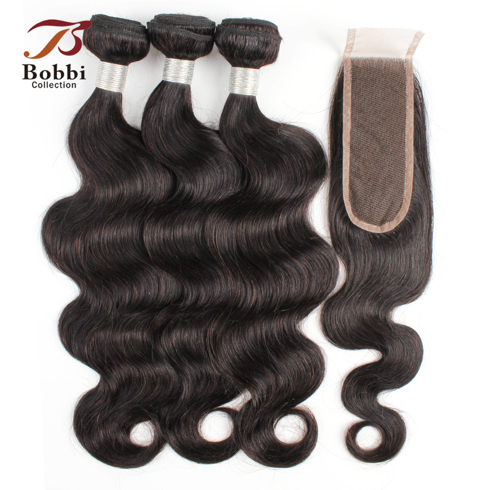 BOBBI COLLECTION Indian Body Wave Bundles With 2 6 Closure Natural Brown Remy Human Hair Weave
