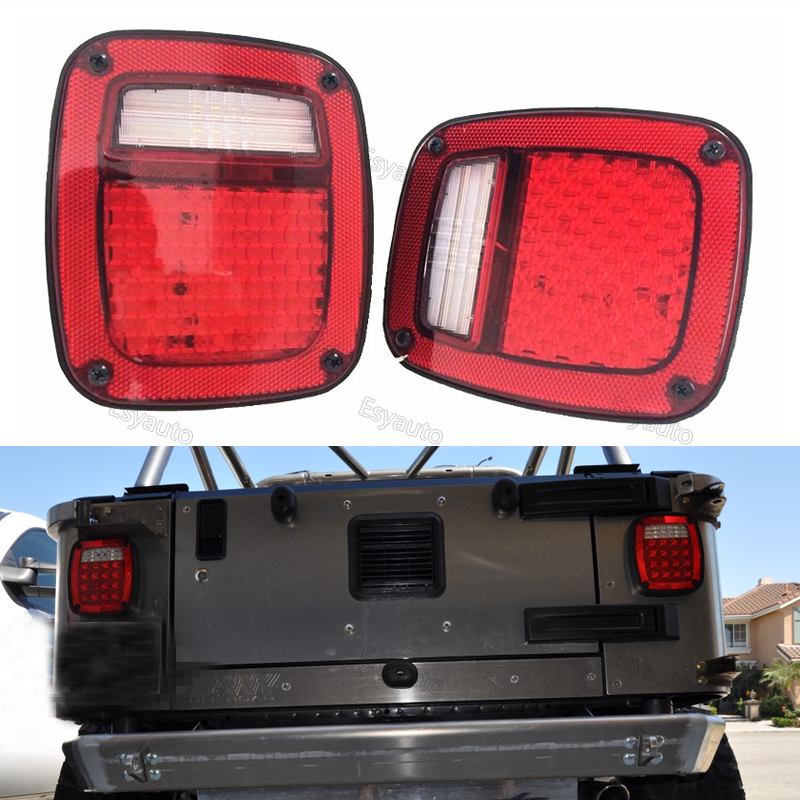One pair LED Tail Lights Assembly Right left Stop Turn Signal Reverse Running lights Replacement for Jeep Wrangler TJ LJ JK YJ windshield pillar mount grab handles for jeep wrangler jk and jku unlimited solid mount grab textured steel bar front fits jeep