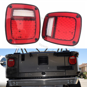 One pair LED Tail Lights Assembly Right left Stop Turn Signal Reverse Running lights Replacement for Jeep Wrangler TJ LJ JK YJ