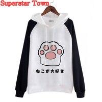 Vrouwen Fleece Sweatshirts Hoody Japan Kat Poot Winterjas Kawaii Vrouwen Hoodie Harajuku Mori Meisje Truien School Kleding
