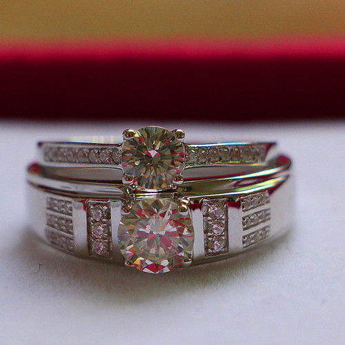 Charles Colvard G H Test Positive Moissanite Marriage Jewelry Solid