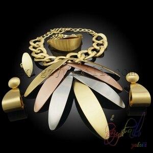 Image 4 - Yulaili بالجملة رخيصة موضة دبي الديكور مجموعات مجوهرات ارتفع الذهب اللون ورقة كبيرة شكل قلادة قلادة أقراط
