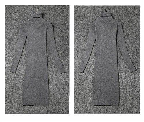 Women Winter Dress Turtleneck Long Sleeve Knitted Sweater Dress Slim Sexy Long Dress Casual Basic Dress vestido de festa 1013