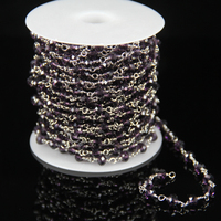 Rosary Craft Jewelry Supplies Purple Glass Quartz Faceted Rondelle Beads Chains Plated Silver Wire Wrapped Link