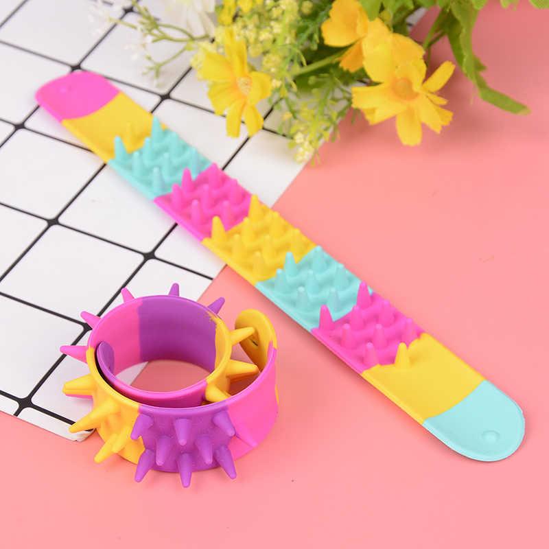 Anti stres oyuncak başak Fidget bilezik çocuklar parti iyilik duyusal oyuncak Spiky tokat bilezik Anti stres otizm dehb için anksiyete