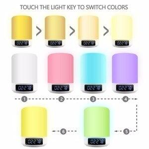 Image 4 - Nacht Licht Bluetooth Lautsprecher Touch Sensor RGB Dimmbare Warm Weiß Wecker USB AUX MP3 Player für Kinder Party Schlaf als geschenk
