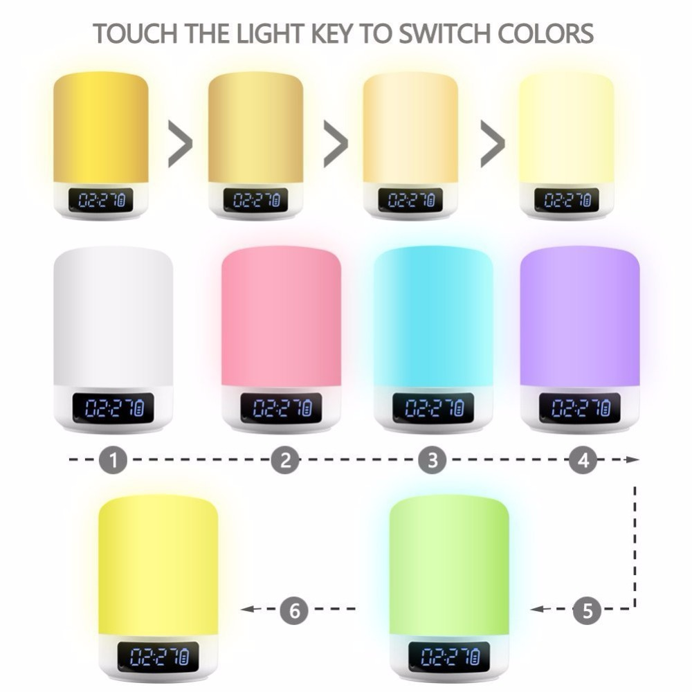 Image 4 - Night Light Bluetooth Speaker Touch Sensor RGB Dimmable Warm White Alarm Clock USB AUX MP3 Player for Kids Party Sleep As gift-in Portable Speakers from Consumer Electronics