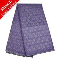 Best african lace purple High quality french lace fabric 2017 African organza lace fabric for nigerian lace 100% cotton wedding