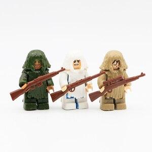 Image 3 - Arme militaire PUBG accessoires pistolet blocs de construction casque Parachute Ghillie costume SWAT soldat brique jouet Compatible armée Legoed