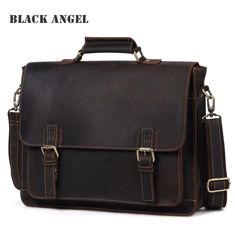 Men genuine leather bags Vintage crazy horse leather design business men messenger bag shoulder crossbody bag