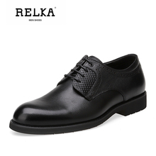 Купить с кэшбэком RELKA Classic Men Luxury Leather Shoes High Quality Genuine Leather Round Toe Soft Heel Shoes Lace-up Solid Casual Men Shoes N27