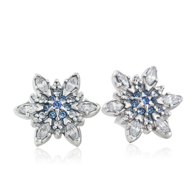 Clear CZ & Blue Crystal Pave Snowflake Stud Earrings Suitable For European Style Jewelry 925-Sterling-Silver Earrings For Women