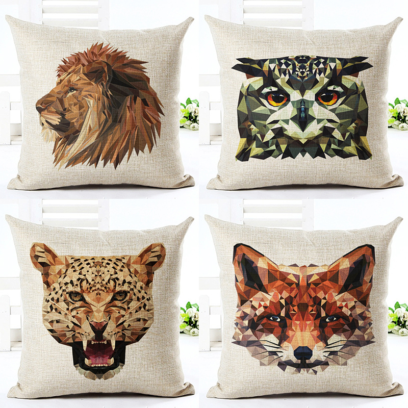 Square African Animal Cushion Cover Pillow Case Waist Pillowcase For Sofa Office Home Decor F
