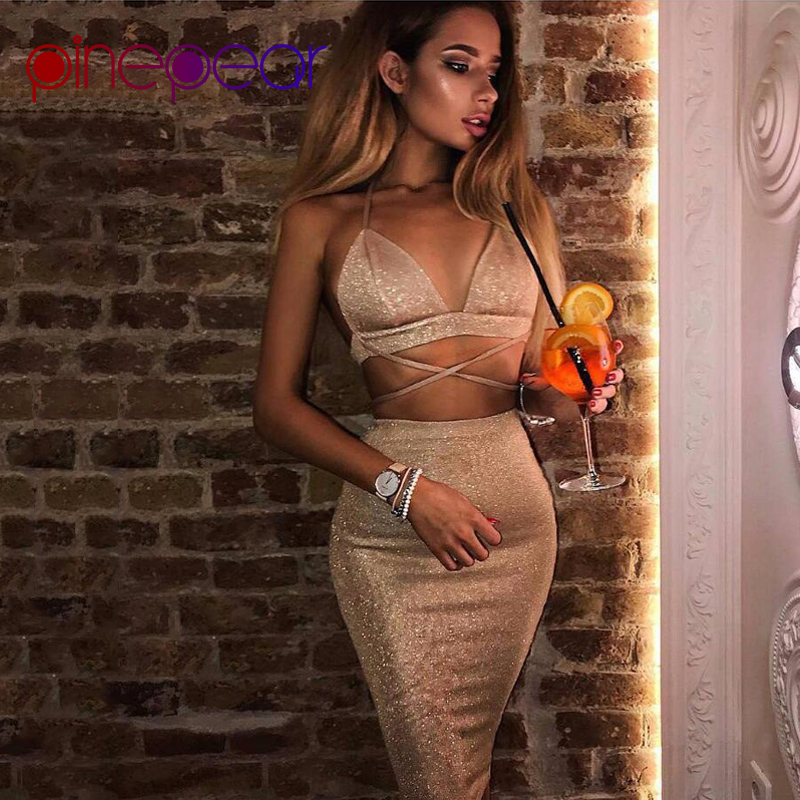 9795cf802ad5 Detail Feedback Questions about PinePear Sexy Sparkly Bodycon Bandage Dress  2019 Halter Deep V Neck Lace Up Crop Top 2 Two Piece Set Summer Party Club  ...