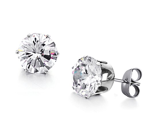 Stainless Steel Earrings Stud Round Cubic Zirconia Non Allergic Surgical 9mm Cz