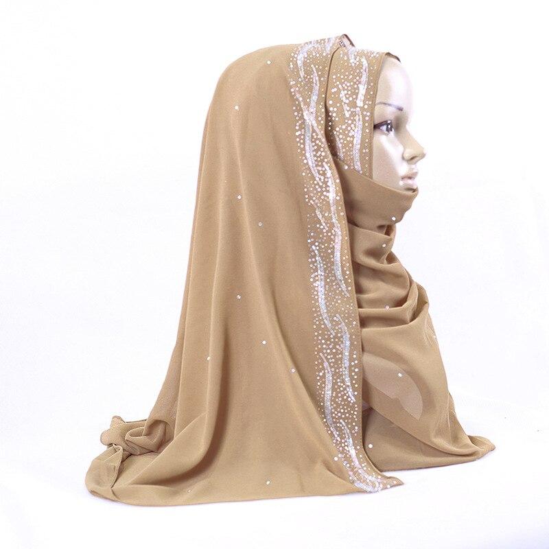 Spring Summer Women Beautiful Bubble Chiffon Glitter Shimmer Rhinestone Brim Head Scarf Shawls Wrap Arab Muslim Hijab Scarves