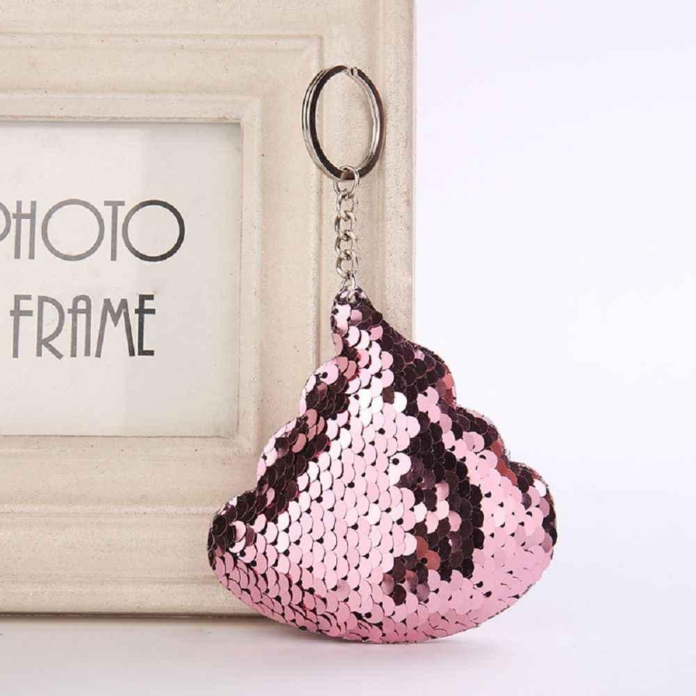 Lantejoulas Cocô Chaveiro Pompom Glitter Lantejoulas Saco de Presentes Chaveiro para As Mulheres Carro Llaveros Mujer Acessórios Chave Anel