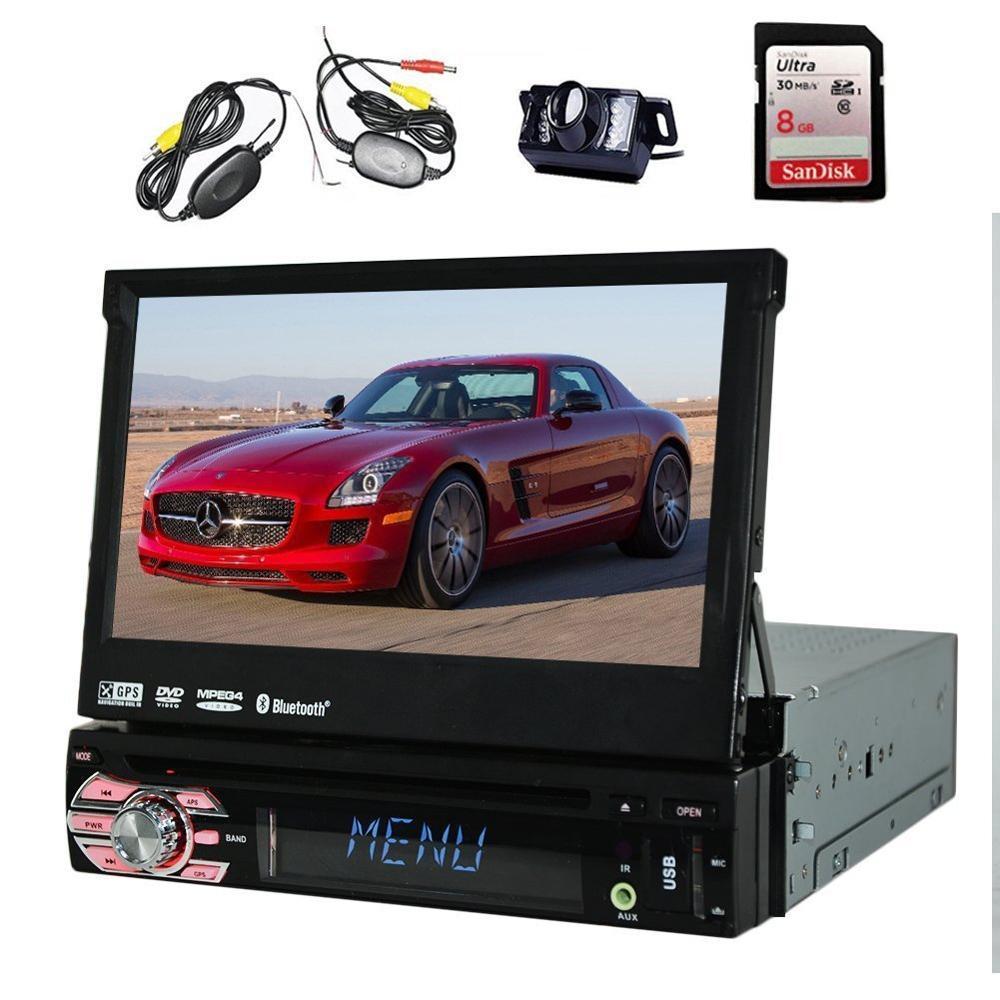 Wireless Backup Camera+EinCar In-Dash 1 DIN 7'' radio Touch screen Car DVD/CD/USB/SD/MP4/MP3 Player GPS Navigation Bluetooth