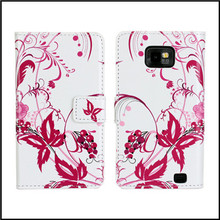 For Samsung Galaxy S2 S 2 i9100 Flip Cases Cover Leather Wallet Case Color Flower Etui Capinhas Coque Fundas Capa Carcasa Hoesje