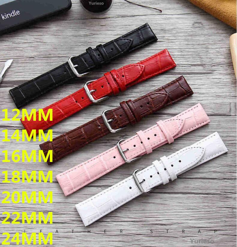 100PCS Watch Band Genuine Leather straps Watchbands 12mm 18mm 20mm 14mm 16mm 22mm 24MM watch accessories