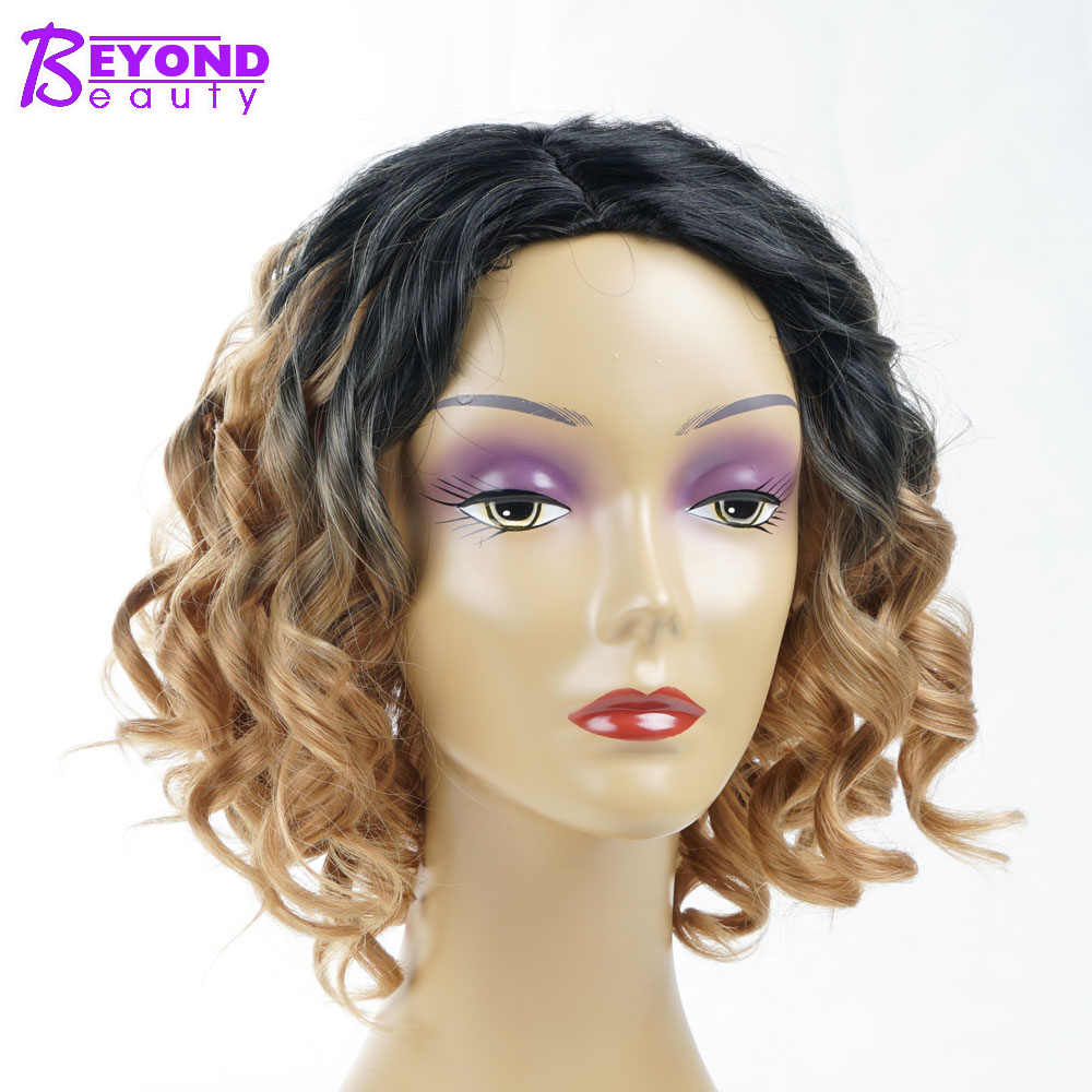 Beyond Beauty Ombre Synthetic Short Curly Bob Cuts Wigs For Women Ombre Black Light Brown Side Part African American Wigs