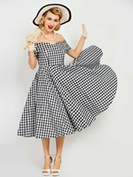 Sisjuly Women S Vintage Dress 2017 Summer Elegant A Line Model Plaid Short Sleeve Knee Length