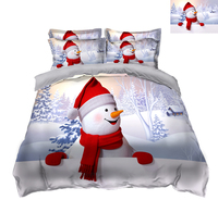 bedding set 3D bedsheet Pillowcase bed cover decorate twin size Queen Red hat snowman flat sheet Bed Linen king size