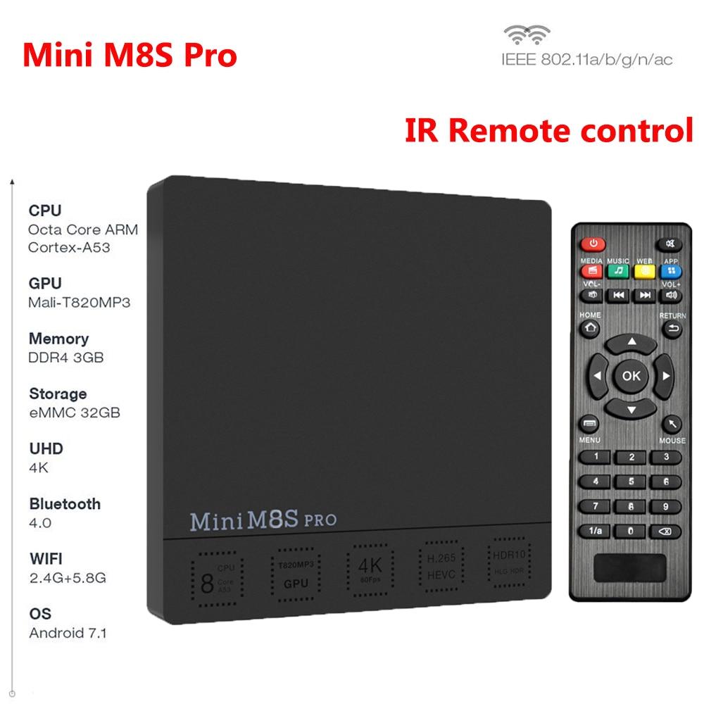 Mini M8S Pro C Amlogic S912 Octa Core Android 7.1 4K Smart TV Box 2GB/3GB DDR3 RAM 16GB/32GB eMMC ROM WiFi