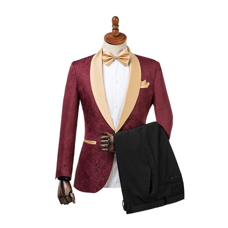 Erkek Kıyafeti'ten T. Elbise'de Gwenhwyfar Ceket Pantolon Tasarım Smokin Damat Bir Düğme Bordo Altın Şal Yaka Custom Made Örgün En Iyi Adam Erkekler Düğün Takım Elbise'da  Grup 1