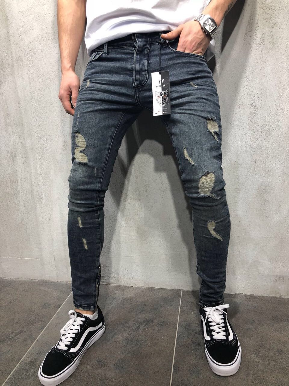 Tight-fitting zipper   jeans   men's slim denim jogging socks stretch men's denim pencil pants blue men's   jeans   fashion casual