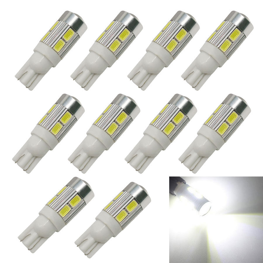 10Pcs Auto LED T10 194 W5W 10 SMD 5730 LED Brake Light Bulb Turn Signal Lights Car styling Free shipping White Blue Red Yellow