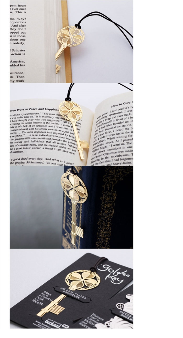 Image 4 - 40 pcs/Lot Lucky key bookmarks for book Golden Metal bookmark gift marcadores de pagina Stationery Office School supplies A6641Bookmark   -
