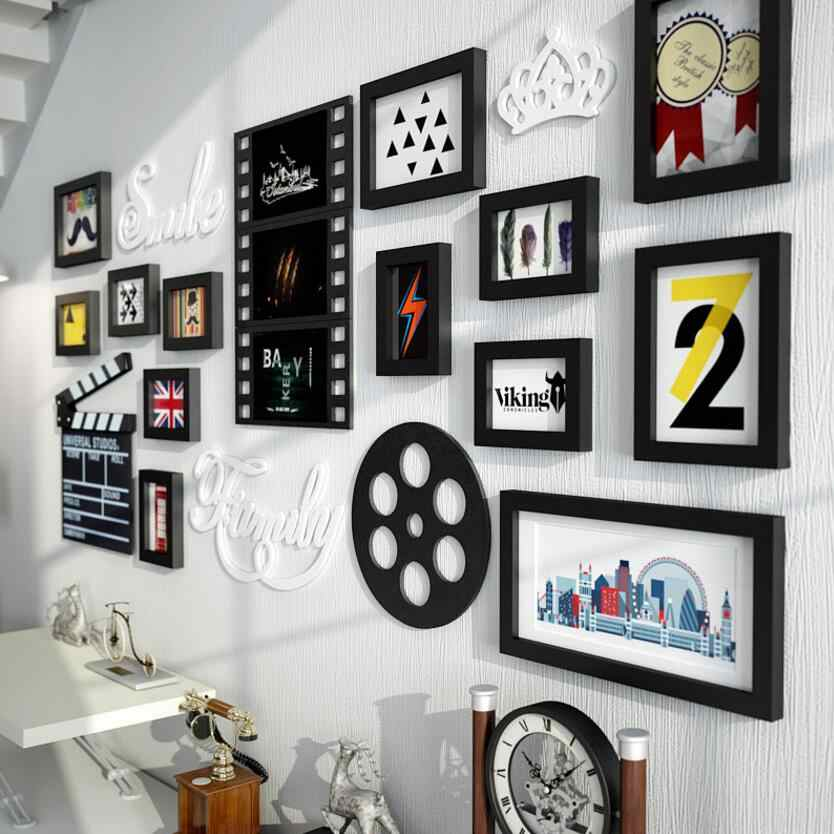 SUFEILEMulti-frame Modern Style  picture frames Home Cinema decoration  rectangle Photo Frame Wall Mounted Wooden Frame Wall Set