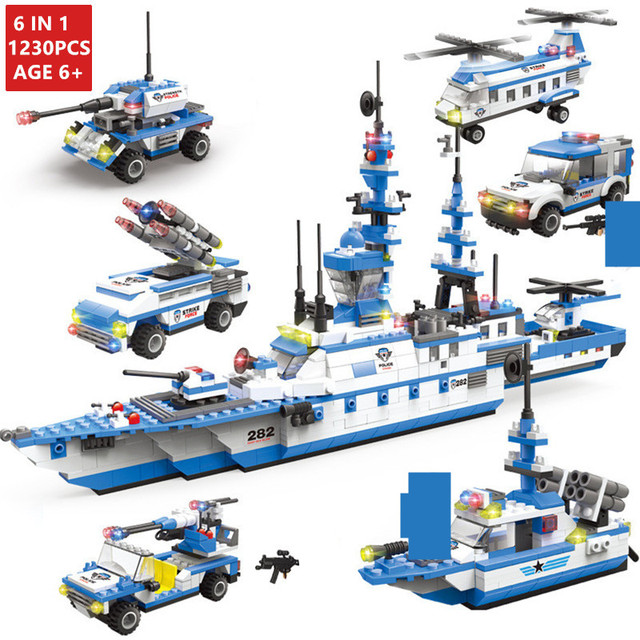 1230PCS Military Warship Transport Aircraft Building Blocks City Police Car Army Soldiers WW2 Bricks Kids DIY Toys for Children