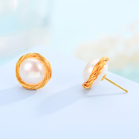 Shineland Trendy Pearl Gold Stud Earring Fine Jewelry For Women Party Wedding Accessories N40