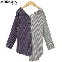 AREALNA 2017 Autumn Casual Women Blouses Long Sleeve Vintage Striped Korean Blouse Shirt Women Tops Blusas