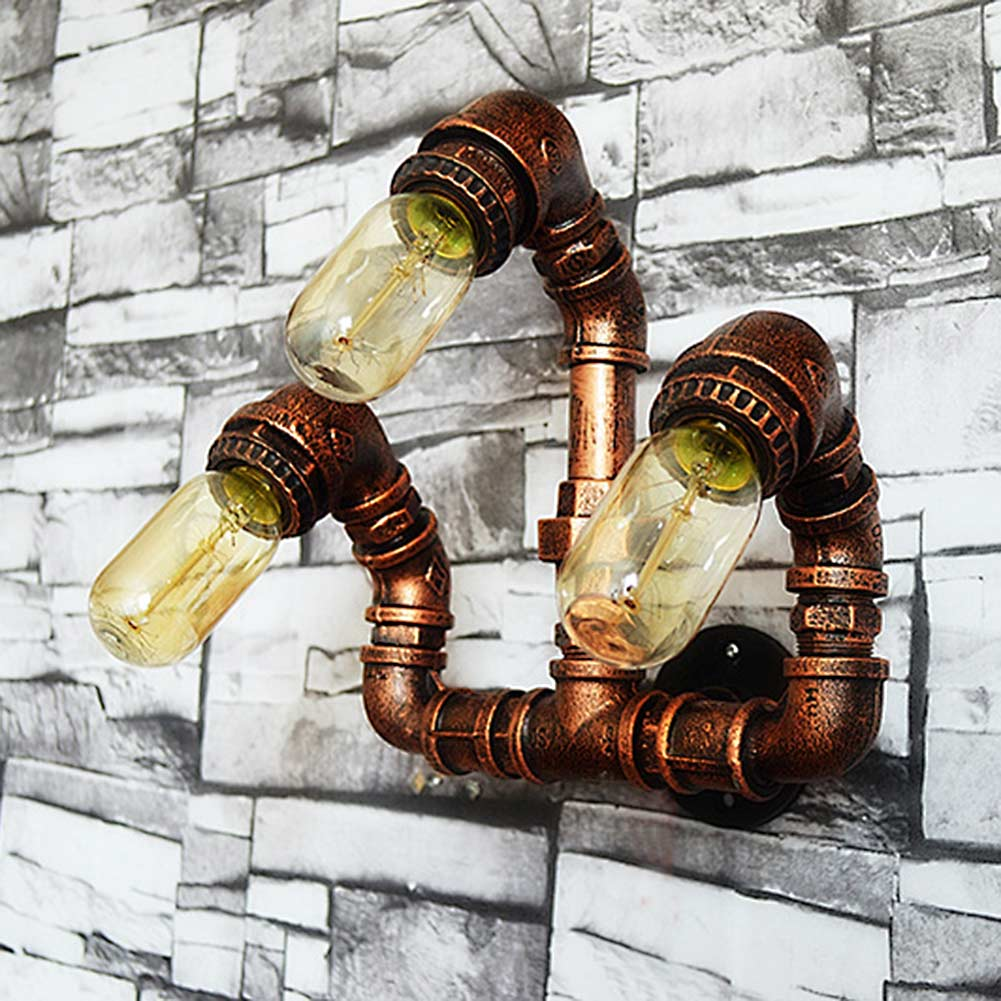 Retro Loft Waterpipe Wall Lamp Rust Color Iron 3 Heads Water Pipes Wall Lights Vintage E27 Indoor Lighting AC110V-250V Lamparas