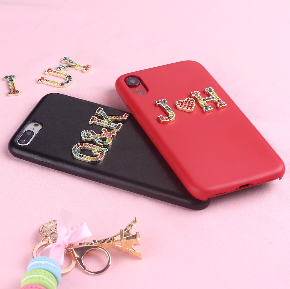 Rhinestone Diamonds Metal Customized Initials For iPhone 11 Pro 6S XS Max XR 7 7Plus 8 8Plus X Smooth Slim Leather Case image