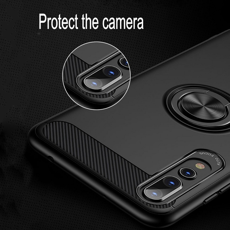 Image 4 - Carbon Fiber Magnet Case For Huawei p20 lite p20 pro Case Soft Silicon Metal Ring Cover For Huawei honor 10 p20lite p20pro Cases-in Fitted Cases from Cellphones & Telecommunications