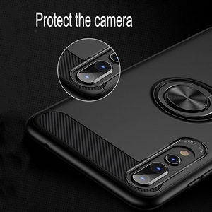 Image 4 - Carbon Fiber Magnet Case For Huawei p20 lite p20 pro Case Soft Silicon Metal Ring Cover For Huawei honor 10 p20lite p20pro Cases