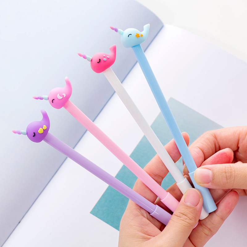 4Pcs Korean Stationery Cute Cat Rollerball Pen//Gel Black Ink Pens School Supply
